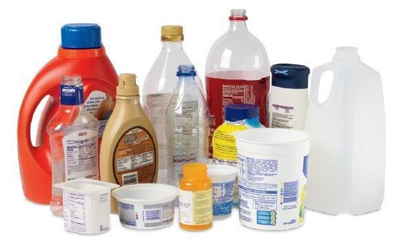 Example picture of Recyclable Plastics including milk jugs, soda bottles, margarine tubs, thicker yo