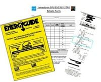 Energy Guide Label, Energy Star Rebatre Form, and invoice